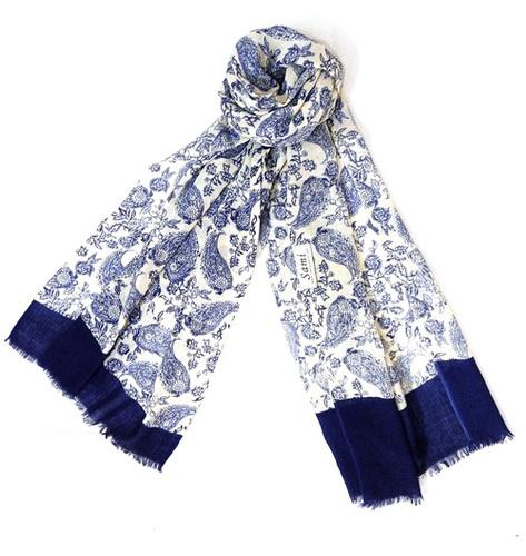 Flower Printed Wool Shawl