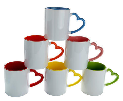Sublimation Heart Handle Color Mugs