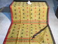 HANDMADE SOFT SILK SAREE WITH BLOUSE . (DESIGNS ARE WOVEN) .