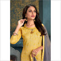 Ladies Yellow Patiyala Queen Suit