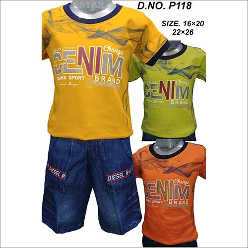 Denim Shorts And T-Shirt Set