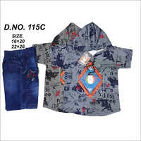 Boys Fancy Jeans T-Shirt and Shorts Set