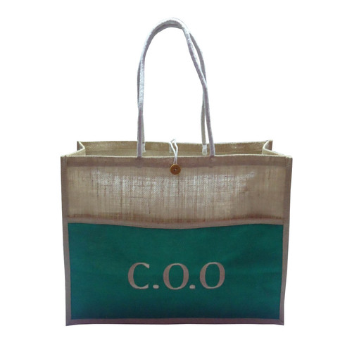 PP Laminated Jute Tote Bag With Front Pocket