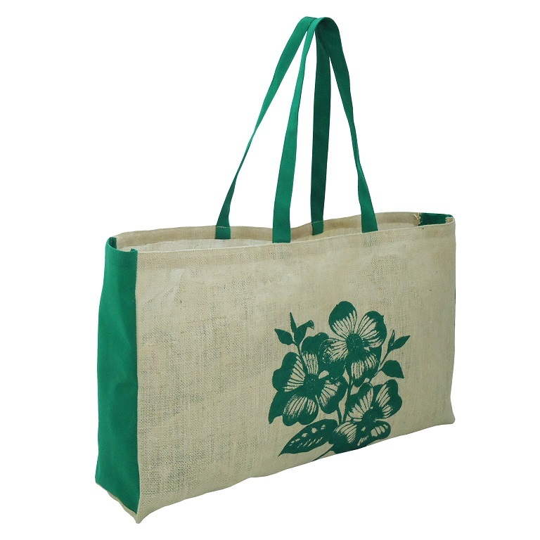 Non Laminated Jute Tote Bag With PP Non Woven Side Gusset
