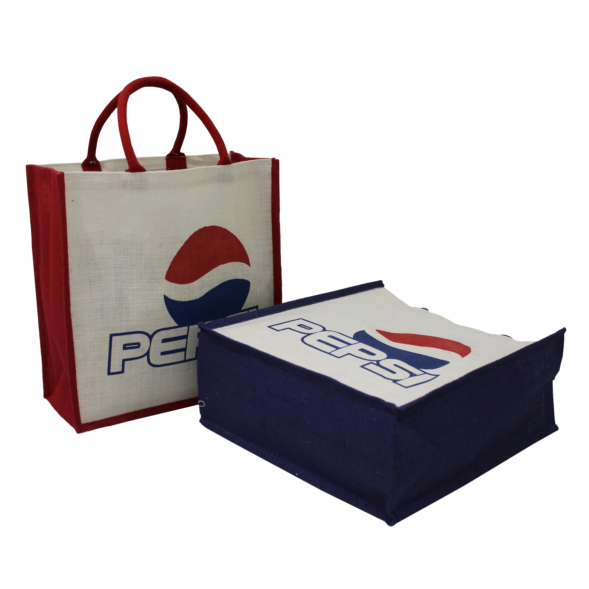 PP Laminated Jute Fabric Tote Bag With Two Color Logo Print Two Side