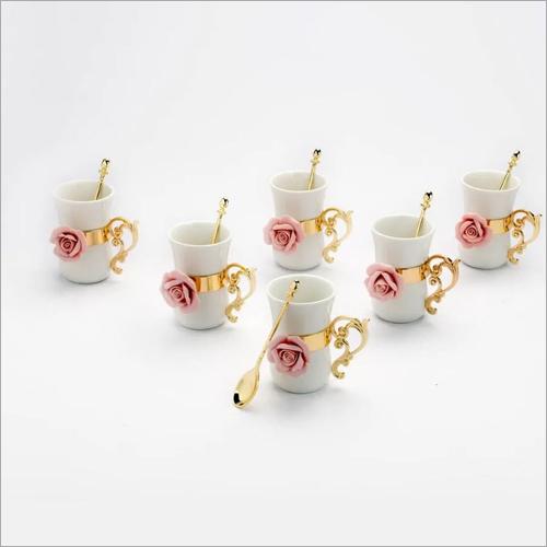 Golden And Pink Hued Ceramic Mugs Set