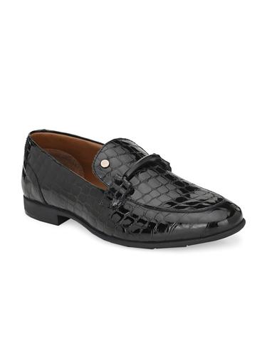 Men Black Leather Formal Slip On Shoes