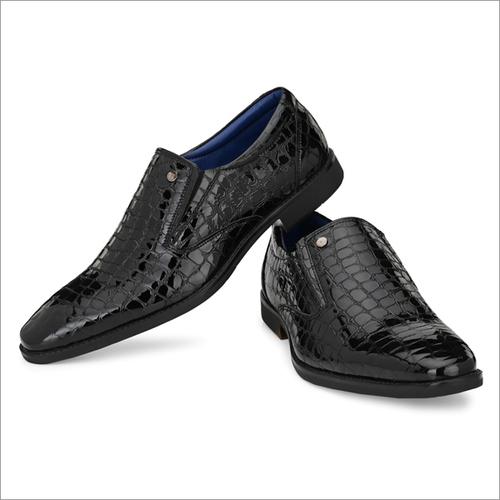 Men Black Leather Party Wear Slip on Shoes
