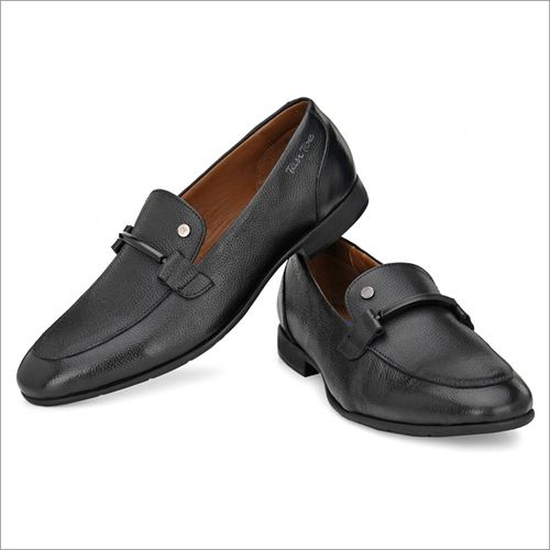 Men Black Milled Leather Slip On Shoes