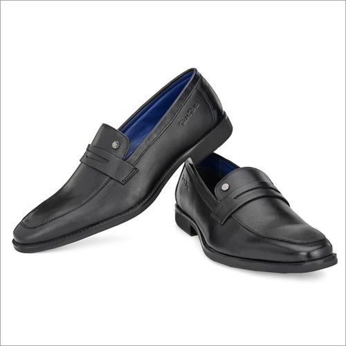 Mens Black Milled Leather Formal Slip on Shoes