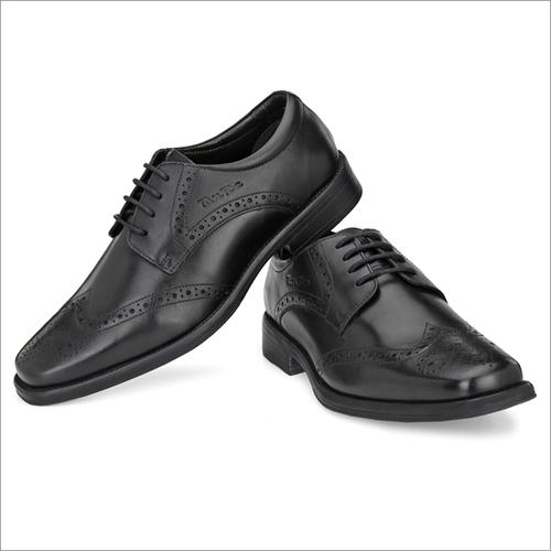 Men Black Leather Formal Brogues Shoes