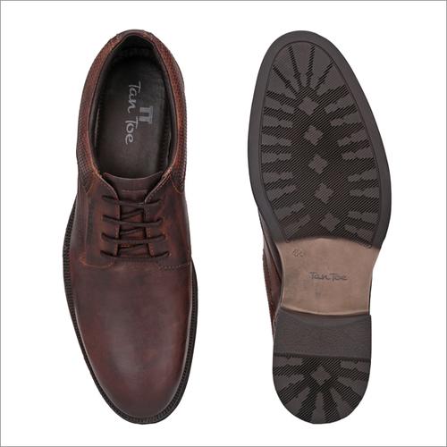 Men Brown Tan Leather Semi Formal Shoes
