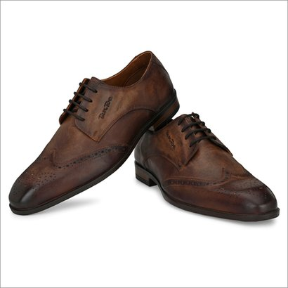 Men Brown Leather Semi Formal Shoes