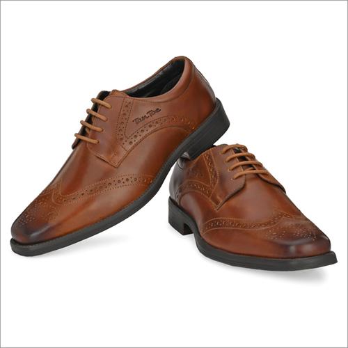 Men Tan Leather Brogue Semi Formal Shoes