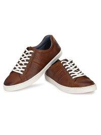 Men Tan Leather Sneakers