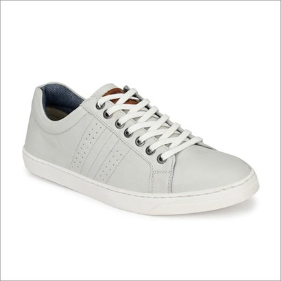 Men White Leather Sneakers