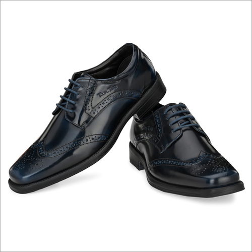 Men Black/Navy Brush Off Leather Brogue Shoes
