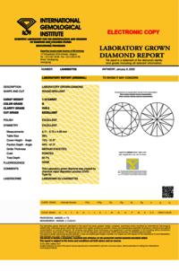 Round Brilliant Cut Lab Grown 1.12ct G VVS2 IGI Certified Diamond 400937725