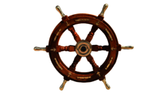 15 Inch Wooden Ship Wheel with Brass Handle and Anchor