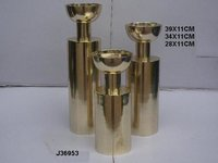 Aluminum Candle Holder Brass Finish