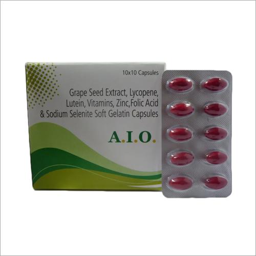 Grape Seed Extract Lycopene Lutein Vitamins Zinc Folic Acid And Sodium Selenite Soft Gelatin Capsules