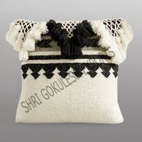 Indian Handmade Cotton Cushion Covers With Fringes
