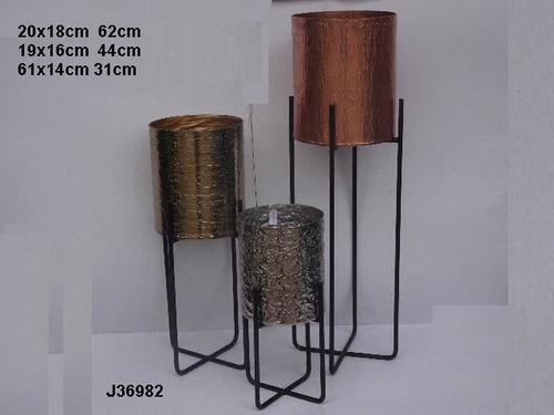 Hammered Aluminum Floor Vase and Pot