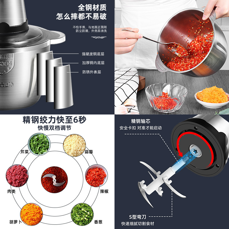 2l Automatic Household Mini Vegetable Chopper Machine Mincer Electric Meat Grinder