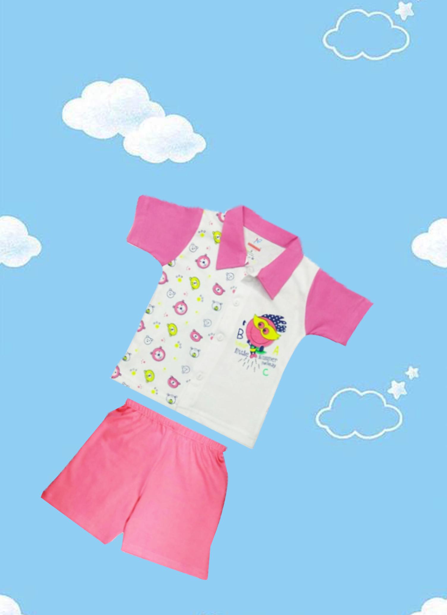 Kids Elephant Print Round Neck Half Sleeve Tshirt & Half Pant