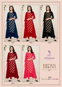 Hirva Soft Malai crepe With Heavy Foil Kurti