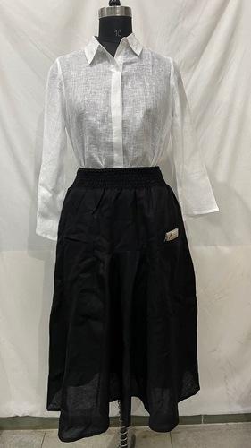 Linen Black and White Dress
