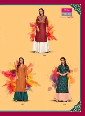 Heavy Synthetic Cotton Crep Fancy Embroidery Y Foil Print Kurti