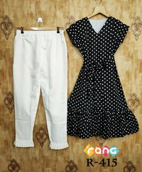 Polyester Print With Full Inner Top and Heavy Cotton Pant