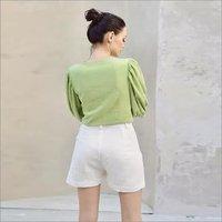 Linen Green Top Set