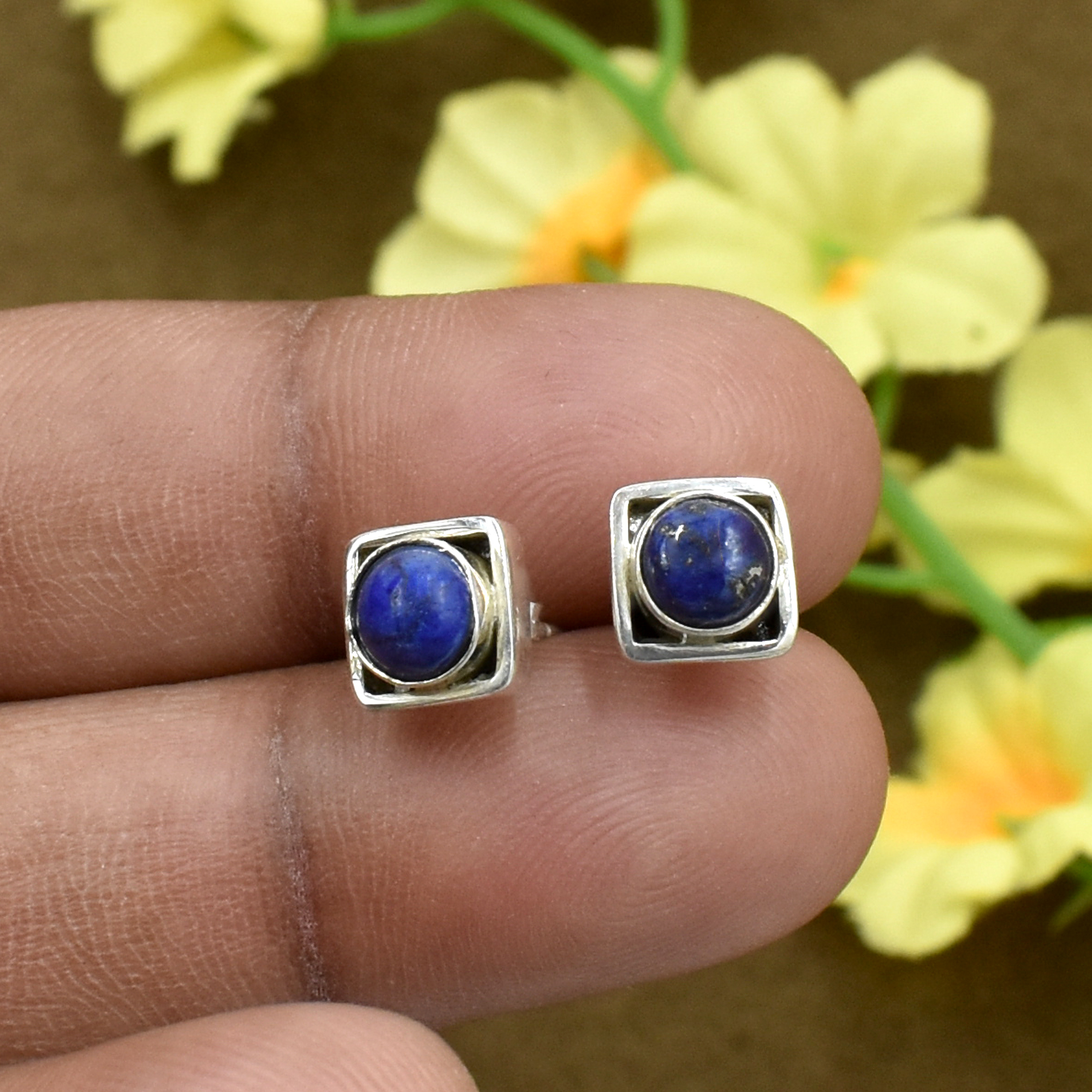 Natural Blue Lapis Lazuli Gemstone Light Weight Earring 925 Sterling Silver Stud For Women & Girls