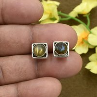 Blue Fire Flashy Labradorite Gemstone Light Weight Earring 925 Sterling Silver Stud For Women & Girls