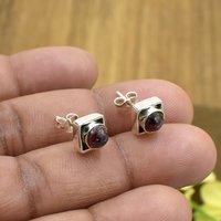 Natural Red Garnet Gemstone Light Weight Earring 925 Sterling Silver Stud For Women & Girls