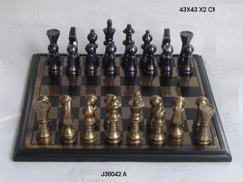 Aluminum Chess in Brass and Nickel