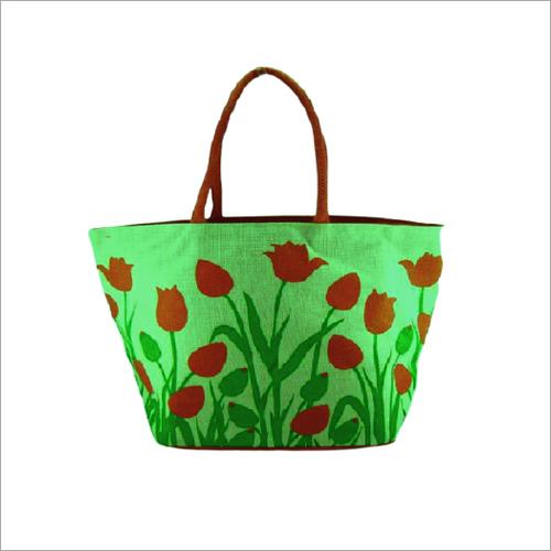 Ladies Printed Jute Handbag