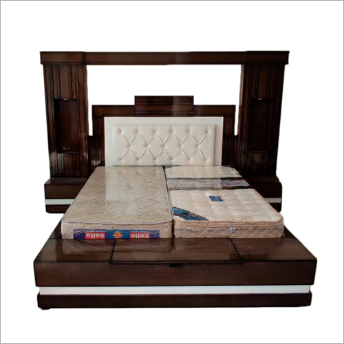 Brown Teak Wood Double Bed