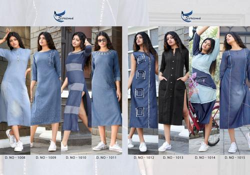 Kumb Lighter Pure Cotton Denim Kurti