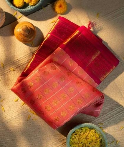 Hevy Rich Gajari Pink Belt With Gold Weaving Zari Border Saree