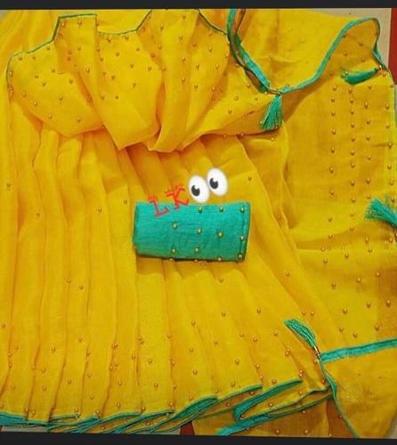 Banglori Silk  Saree With Diamond Work