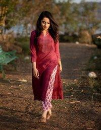 Women Rayon Printed Kurti with Trouser &  Set for Women&Girls