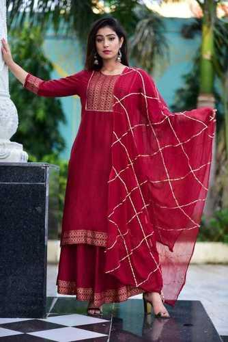 Women's cotton Straight Kurta With Checkered Trouser