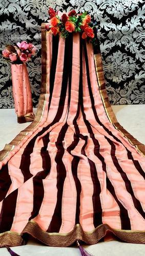 Designer Moss Fabric Blouse With Designer Zari Sparkle Printed Saree