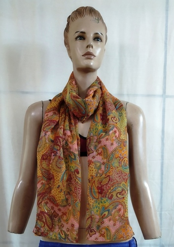 Chiffon with Gold print Scarves