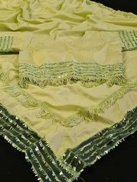 Dolla  Silk Saree With Sequnce Border And Desegner Jalar