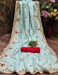 DOLA SILK saree with embroidery BUTI work & WORK less