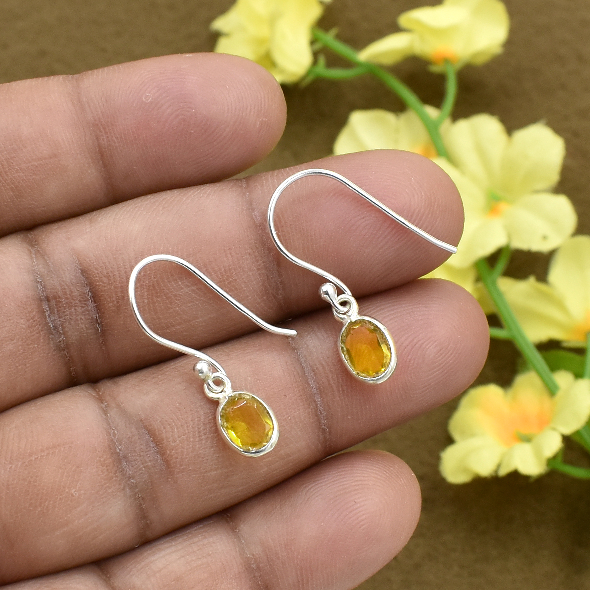 Silvesto India Natural Citrine Quartz Gemstone Earring 925 Sterling Silver Dangle Drop Fashion Earring